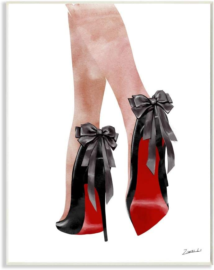 Stupell Industries Fashion Red Bottom Bow High Heels Shoes Shopping, Designed by Ziwei Li Art, 10 x 15, Wall Plaque