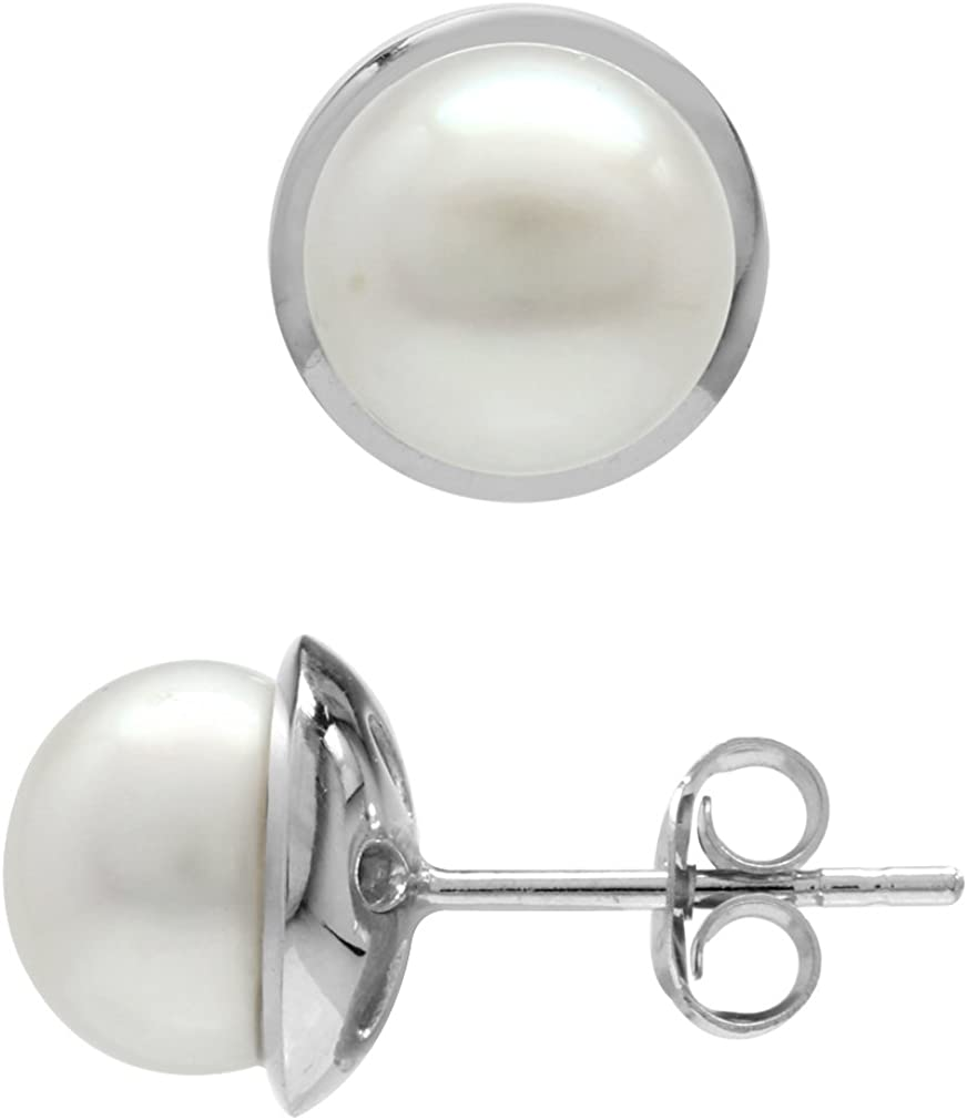 925 Sterling Silver Rhodium-plated Polished 7-8mm White Button Freshwater Cultured Pearl Post Earrings