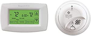Honeywell Home RTH7600D 7-Day Programmable Touchscreen Thermostat, Small, White, 1-Pack & First Alert BRK SC9120B Hardwired Smoke Detector and Carbon Monoxide (CO) Detector with Battery Backup