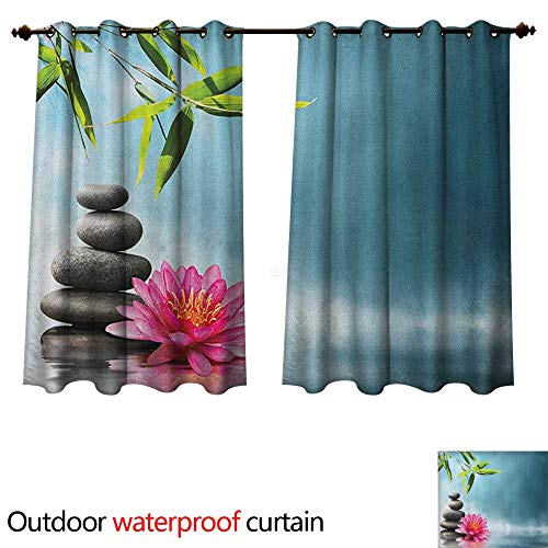(Anshesix Spa Outdoor Ultraviolet Protective Curtains Spa Theme with Lily Lotus Flower and Rocks Yoga Style Purifying Your Soul Theme W72 x L63(183cm x 160cm))