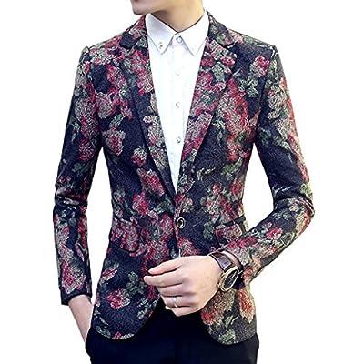 Nice OUYE Men's Woolen Floral 1 Button Blazer hot sale