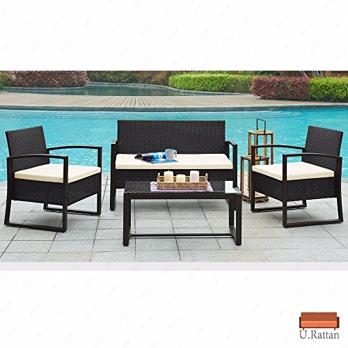Rattan Wicker Patio Furniture Set Sofa & Table 4 Pcs Cushioned Lawn Garden Outdoor (Hull Shops Garden Furniture)