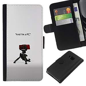 Soy un PC - la tarjeta de Crédito Slots PU Funda de cuero Monedero caso cubierta de piel Para HTC One M9
