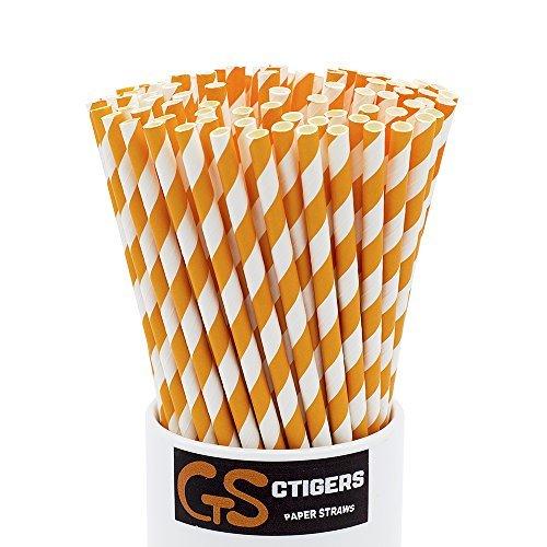 Orange Striped Drinking Paper Straws for Birthday Party Wedding ...