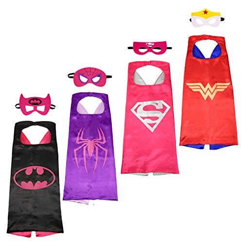 NAGNACA 4 Different Comics Cartoon Hero Cape and Mask Costumes Set for Girl (Robin Custome)