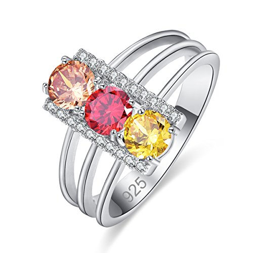 Emsione Created Citrine & Garnet & Morganite 925 Sterling Silver Plated Pave Ring for Women