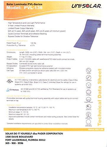 Uni Solar Pvl 136 Power Bond Pvl 136 Watt 24 Volt 216 Quot X