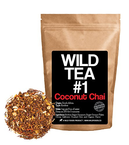 Coconut Chai, Rooibos Loose Leaf Tea Blend, 100% Natural Organically Grown Ingredients - Wild Tea #1 Herbal Chai Tea