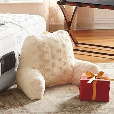 Crystal Faux Fur Backrest Pillow with Arms (Ivory)