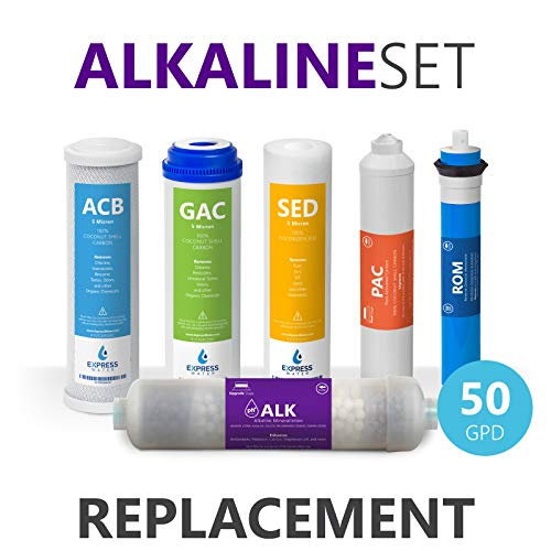 Express Water - 1 Year Alkaline Reverse Osmosis System Replacement Filter Set - 6 Filters with 50 GPD RO Membrane, Carbon (GAC, ACB, PAC) Filters, Sediment (SED) Filters - 10 inch Size Water Filters