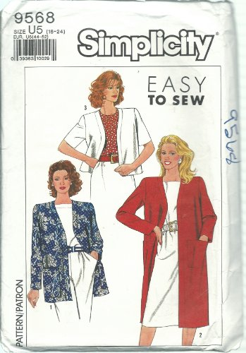 (Simplicity 9568 Sewing Pattern Misses Easy To Sew Jacket Size 16-24)