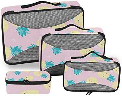 ピンクプリントパイナップル荷物パッキングキューブオーガナイザートイレタリーランドリーストレージバッグポーチパックキューブ4さまざまなサイズセットトラベルキッズレディース