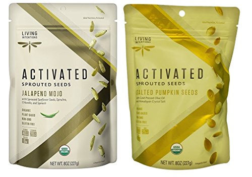 Living Intentions Activated Sprouted Seeds 2 Flavor Variety Bundle: (1) Jalapeno Mojo, and (1) Salted Pumpkin, 8 Oz. Ea. (2 Bags) (Pumpkin One)
