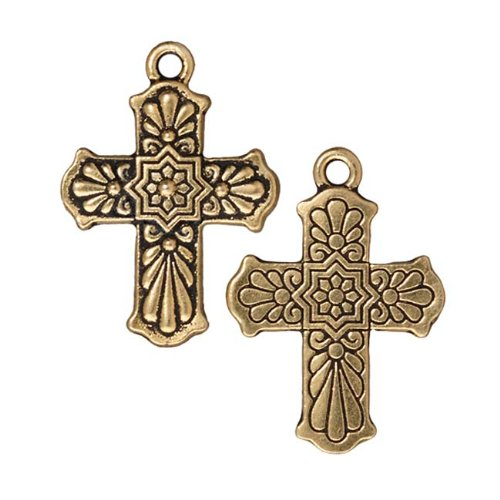 22K Gold Plated Pewter Dia De Los Muertos Talavera Cross Pendant Charm 30mm (1)