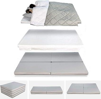 EvergreenWeb Space Plus - Futón plegable, multifunción 4 en 1, puf, colchón individual y de matrimonio con sábanas, para ahorra espacio