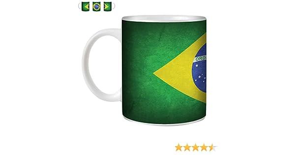 Stuff4 Taza de Café/Té 350ml/Brasil/brasileño/Banderas de la Vendimia/Cerámica Blanca/ST10: Amazon.es: Electrónica