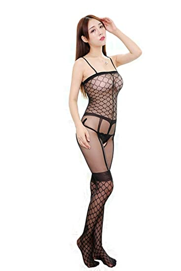 a67208cc7 Amazon.com  Sexy Fishnet Open Crotch Bodystocking Bodysuit Sling Tights  Lingerie Crotchless For Women One Size (Black)  Clothing