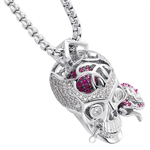 Karseer Faithful Love & Rose Skull Pendant Necklace
