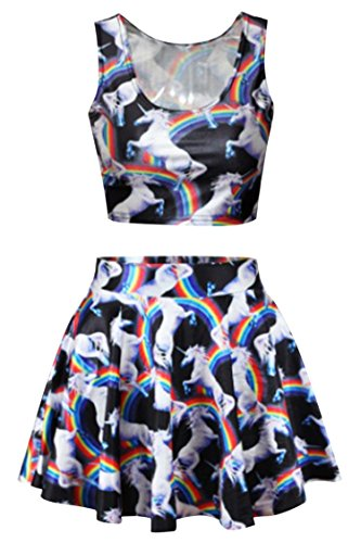 Mini Print Costumes (3D Unicorn Animal Print 2 Piece Crop Tank Tops and Mini Skater Skirt For Women)