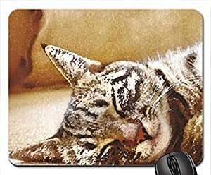 Tabby cat sleeping Mouse Pad, Mousepad (Cats Mouse Pad, Watercolor style) by mcsharks