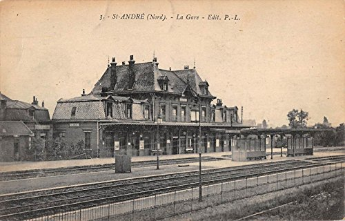 Saint Andre lez Lille France La Gare Train Station Antique Postcard J28274