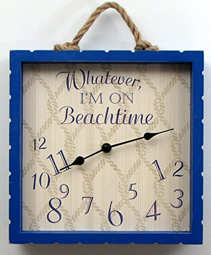 Whatever-Im-on-Beachtime-Wooden-Unique-Decorative-Funny-Wall-Time-Clock-Made-of-Wood-for-a-Beach-Lover-with-Hanger-to-Mount-on-the-Wall