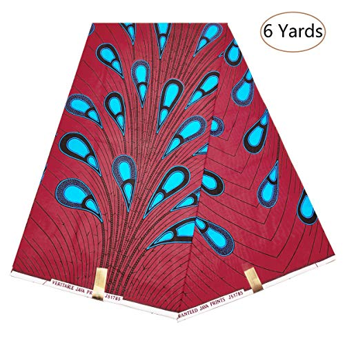 Dexuelan 6 Yards Ankara Print Fabric African Wax Print Fabric with Feather Designs for Sewing Dress Clothing Designs (Dark red and Blue)