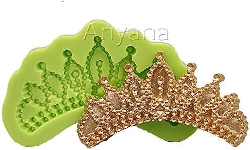 Anyana Frozen Elsa Tiara crown Silicone Fondant Moulds Bakeware Tools Cake Decorating mold cupcake Stenci topper 095a