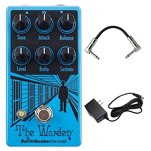 EarthQuaker Devices The Warden V2 Optical Compressor Guitar Compressor Pedal with Tone, Level, Sustain, Ratio, Attack and Release Controls and True Bypass with AC Power Adapter and Pedal Patch Cables