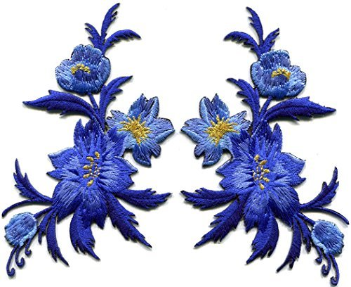 Royal blue flowers pair floral bouquet boho embroidered appliques iron-on patches pair new