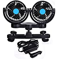 Catinbow Car Fan for Rear Seat Passenger 12V 360 Degree Rotatable Dual Head 2 Speed Quiet Strong Dashboard Auto Cooling Air Fan for SUV RV Boat Auto Vehicles Golf