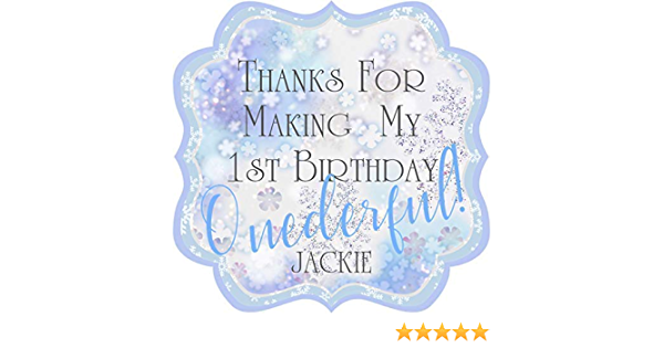 Custom Foil Birthday Circle Stickers Personalized Foil First Birthday Stickers Winter ONEderland Birthday Party Stickers Party Stickers