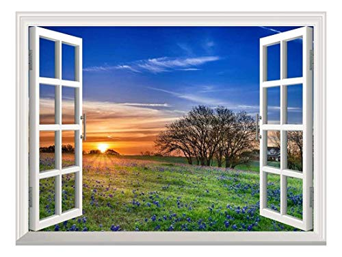 Removable Wall Sticker Wall Mural Sunrise on a Springfield Creative Window View Wall Decor