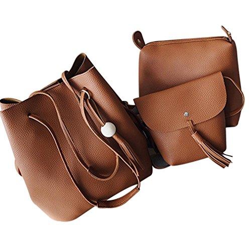 Brown Bucket Bag HCFKJ 4Pcs Tassel Women Handbags Retro Artificial Small Shoulder Leather Holder Card qOq65