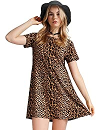 Womens Leopard Tunic Dress Shift Jersey Party Street Style