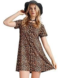 Womens Leopard Tunic Dress Shift Jersey Party Street Style