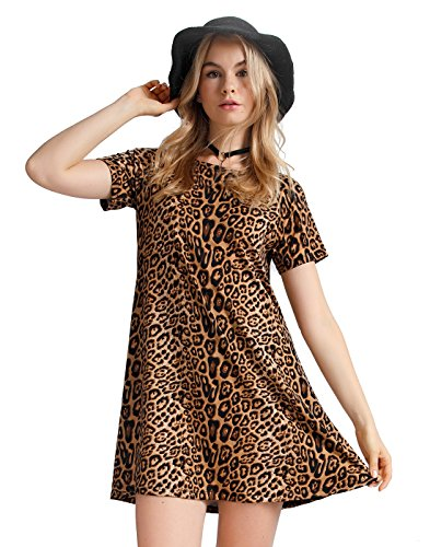 OEUVRE Women Chic Apparel Leopard Print Babydoll Mini Tunic Dress - Chic Mini Dress Short Sleeve