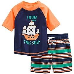 Simple Joys by Carter's Baby Boys' Toddler 2-Piece Swimsuit Trunk and Rashguard, Orange Blue Ship, 4T