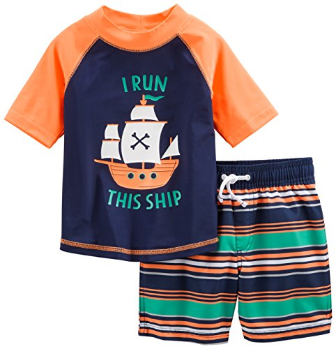 (Simple Joys by Carter's Baby Boys' Toddler 2-Piece Swimsuit Trunk and Rashguard, Orange Blue Ship, 3T)