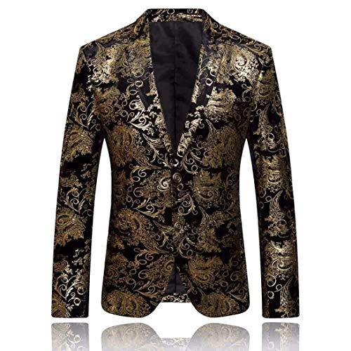 Slim Hombre De Esmoquin Boda Chicos Exquisito Estampado Clásico Chaqueta Casual Graduación Fashion Negocio Con Laisla Fit Baile Blazer Oro Traje q6E4w1xTt