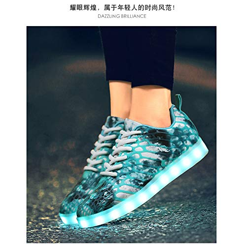 Uomo Chiaro Da 7 Women Men Flash Scarpe Shoes Light Skateboard Mesh Led Sportive Lovers Blu Colori Casual For Tecniche Moda Traspirante Cool And Outdoor ggrqH1
