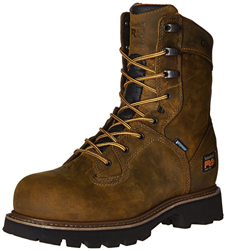 Timberland PRO Men's 8 Inch Crosscut WP Steel Toe Work Boot, Brown Distressed Leather, 9 M US