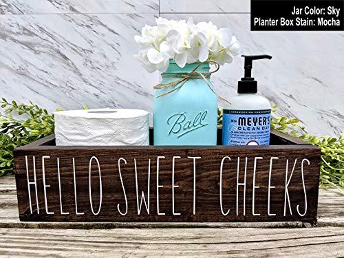 Hello Sweet Cheeks Bathroom Box. Bathroom Humor Toilet Tray. Choose Your Box Color, Jar Color, and Flower Color.