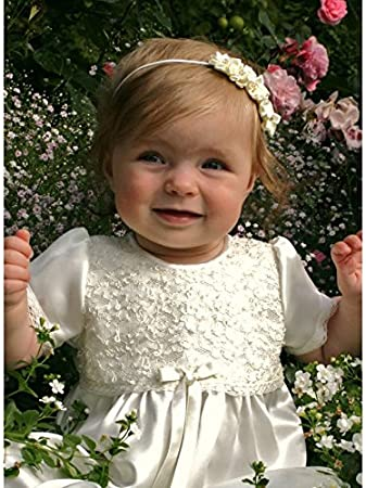 0c1d9d751 Christening dress / After christening dress in Ivory satin and lace with  short sleeve from Grace of Sweden (62, 3-6 months, chest 18 in.): Amazon.co. uk: ...