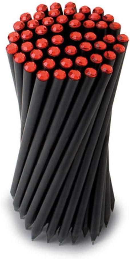 25 PEZZI Matita nera con strass colore ROSSO 17.8 cm BOMBONIERA LAUREA