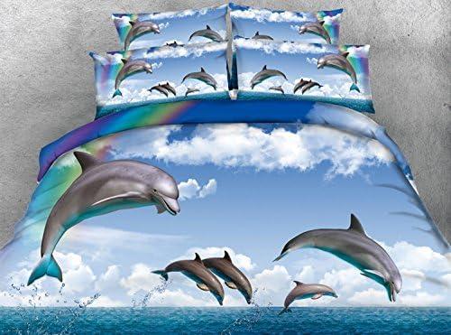 HUANZI Personnes Housse de Couette Bleu 3D Rainbow Dolphin Pattern Impression numérique Fibre matériel Double Taille Ensembles de literie, 150 * 200