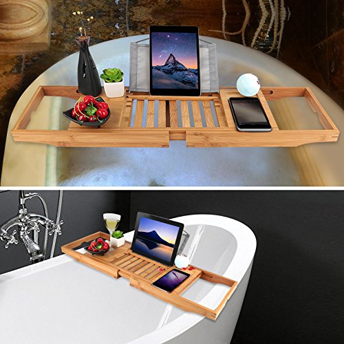 Bathtub Tray oobest Bamboo Bathtub Caddy Tray with Extending Sides Adjustable book holder with Premium Luxury Tray Organizer for Phone and Wineglass (Natural Bamboo Color) by oobest (Image #5)