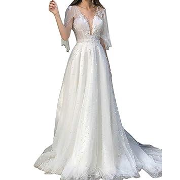 Vestido de Encaje Espalda Abierta Mujer Blanco,Vestido de ...