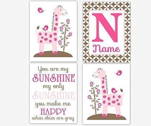 My Baby Girl S Nursery: Amazon.com: Pink Giraffe Baby Girl Nursery Art Hot Pink