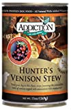 Addiction Hunter's Venison Stew Grain Free Canned Dog Food, 13 oz. (12-pack)